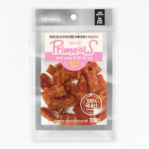 프리미엄 천연수제 100% 국산간식 프리미요 닭고기 큐브 100g